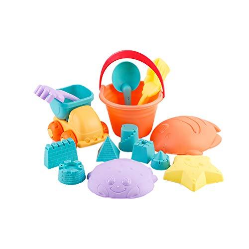 JUNGEN Ensemble De 14 Jouets de Plage Bacs à Sable Jeux de Sable Jardin Bac Plastique Seau Jouets Cadeau Coloré pour Enfant