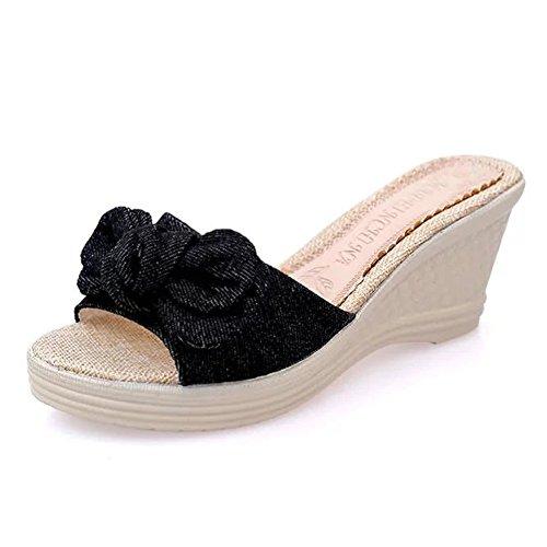 Homebaby Pantofole con Tacco Alto Donna Estive Sandali con Zeppa Eleganti Pantofole Donna Da Casa Bassi Moda Platform Sandali Ragazze Scarpe Da Spiaggia Casual Open Toe Flip Flops Infradito