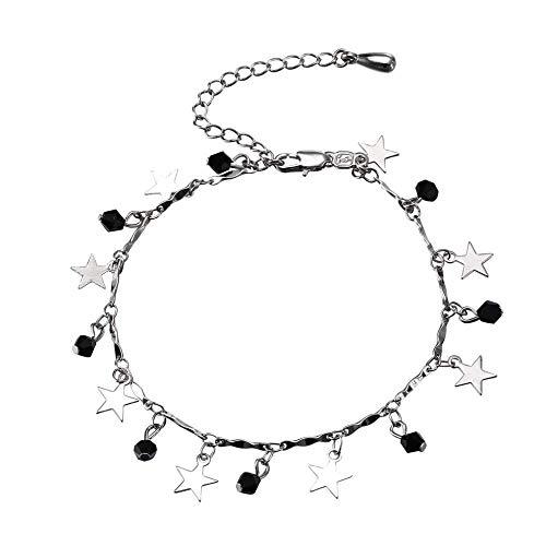 2 Klassische Damen-Armband, Sterne, silberfarben, Kupfer, Verlängerung, Einbau-Kette