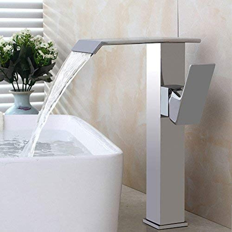ZHAS Toilettenbürste galvanisierter Bassinhahn über Gegenbassin-heiem und kaltem Hahnkupferwaschbeckenhahn-Wasserfallbadezimmerhahn