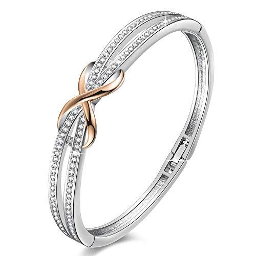 Angelady ❤Cendrillon Classique Bracelet Argent Femme Bracelet Or Rose Femme avec des Cristaux, Bracelet Infini Cadeau Mariage Anniversaire Fête des Mères Maman