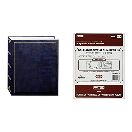 Pioneer Photo Albums Magnetic Self-Stick 3-Ring Photo Album 100 Pages (50 Sheets), Navy Blue & Refill Pages for LM-100, LM-100D and LM-100W Photo Albums, 10 Pages (5 Sheets)
