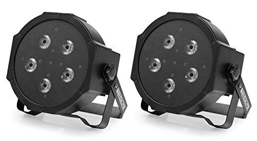 2 x Showlite FLP-5x10W Flat Panel Scheinwerfer Set (5 Hochleistungs-RGB-LEDs, Automatik- und Musiksteuerung, DMX steuerbar mit 3-, 5- oder 7 Kanälen, inklusive IR-Fernbedienung) Schwarz