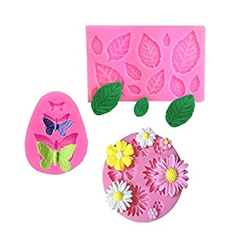 Flower Daisy Mold,Leaves Silicone Fondant Molds,3 Cavities Butterfly Shape Silicone Mold Chocolate Candy DIY Mold for Wedding Birthday Party Cake Decoration Cupcake Topper