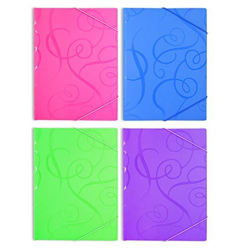 181523 - Carpetas de plástico con tres solapas y cierre de goma elástica, tamaño A4, 6 unidades, colores variados