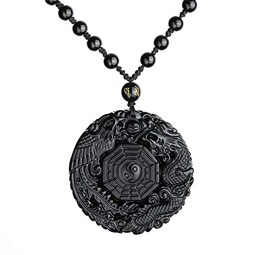 New Black Obsidian Natural Stone Carved Chinese BAGUA Pendant Necklace With Beads Chain TaiJi Yin Yang Lucky Amulet Jewelry Gift