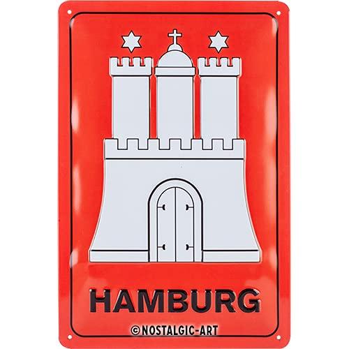 Nostalgic-Art 22306 Plaque en tôle Hamburg-Wappen Rouge/Blanc/Noir 20 x 30 cm