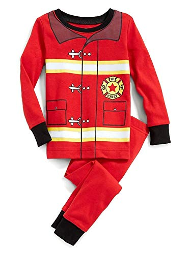 Old NavyTM Toddler Boy's Fireman Fire Fighter Costume Style Cotton Pajama Set (4T) Red