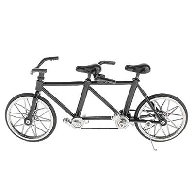 Mini Bicycle Handicraft - Handmade Metal Tandem Bike Model (1:16 Scale) - Decorative Creative Game Toy Gift - Select Colors - Full Black