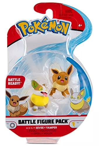 Pokémon Battle Figuren 2-Pack, Evoli & Voldi, 5-cm-Figuren, Offiziell von Pokemon Lizenziert