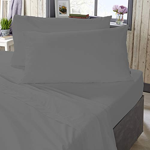 The Bed Linen Store 100% Cotton, 180 Thread Count Percale Plain Dye Fitted Sheet 32cm (12.6') Deep - 5 Colours Available (King, Charcoal)