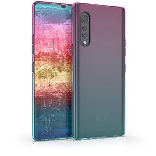 kwmobile Hülle kompatibel mit LG Velvet - Hülle Handy - Handyhülle Zwei Farben Pink Blau Transparent
