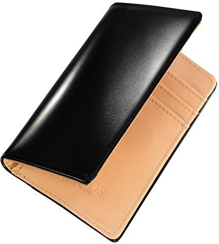 [HAFOS] カードケース メンズ 二つ折り コードバン調×牛革 薄型 本革 スキミング防止 ミニ財布 化粧箱付き (ブラック)