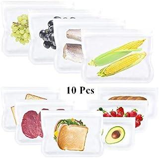 Litthing 10Pcs Beutel Wiederverwendbare aus Silikon, Lebensmittel Beutel, Gefrierbeutel, Küche Beutel, Vielseitige Aufbewahrungsbeutel, BPA frei, für Obst Gemüse Milch Snacks Fleisch