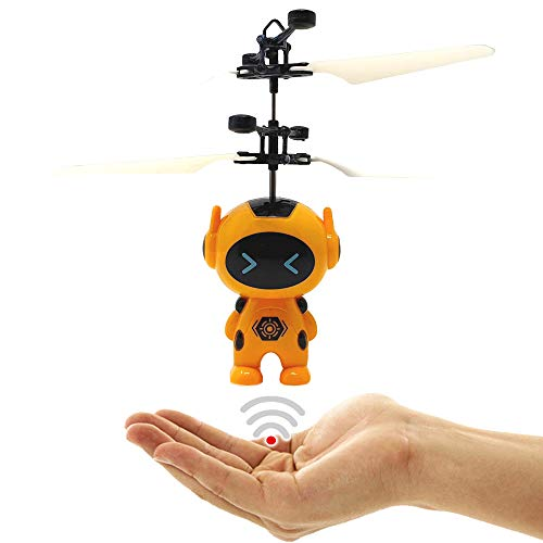 Dreamtoys Astronaut Superheld Space Robot elicottero (giallo) – Facile da controllare a mano con controllo del sensore e telecomando IR per robot drone elicottero quadricottero Alien