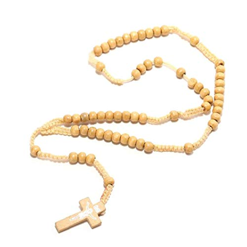 Gargantilla Collares De Madera Religiosa Cruz del Grano Pendiente del Collar del Suéter De Cuello De Cadena De La Joyería Regalo para La Madre Y Padre