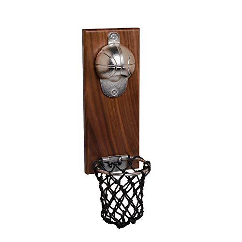 Happymore - Apribottiglie da pallacanestro per birra e vino, strumento in legno, pratico accessorio per la casa, ideale come regalo per gli amanti del basket e della birra