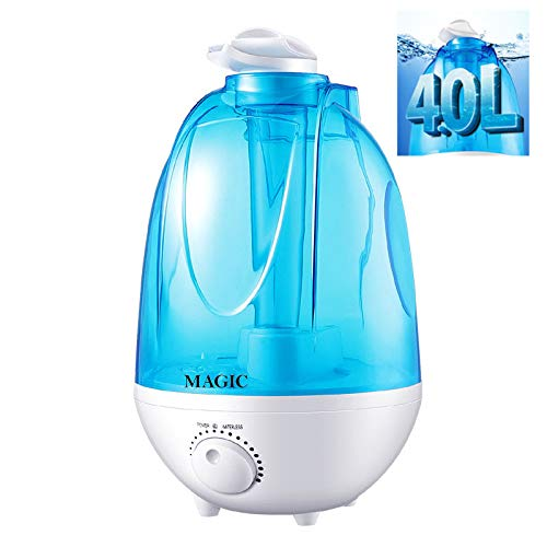 Humidificador Ultrasónico de 4L, Humidificador de Vapor Frio, Difusor de Aceites Esenciales, Deposito de Agua de Gran Capacidad con Bandeja, Difusor de Aroma, con 2 Boquilla 360º Girable (4L)