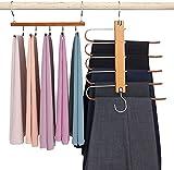 Perchas para Pantalones Perchero de Acero Inoxidable Pesado para Pantalones Bufandas Vaqueros (2Piezas - de Madera)