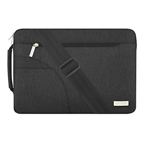 MOSISO Laptop Schultertasche Kompatibel mit 15 Zoll MacBook Pro mit Touch Bar A1990 A1707 2016-2019, 14 Zoll Notebook Computer, Polyester Flapover Bote Aktentasche Sleeve Hülle Tasche, Schwarz