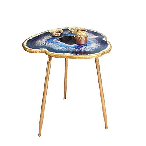 TangMengYun Table basse de style méditerranéen en fer forgé, canapé Table d'appoint créative de luxe de style européen (or)