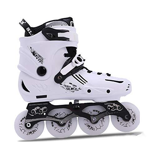 WANGLETA Inline Skates Adult Professional Flash Shoes Roller Blades Children'S Flat Flower Shoes Full Set Roller Skates white 39
