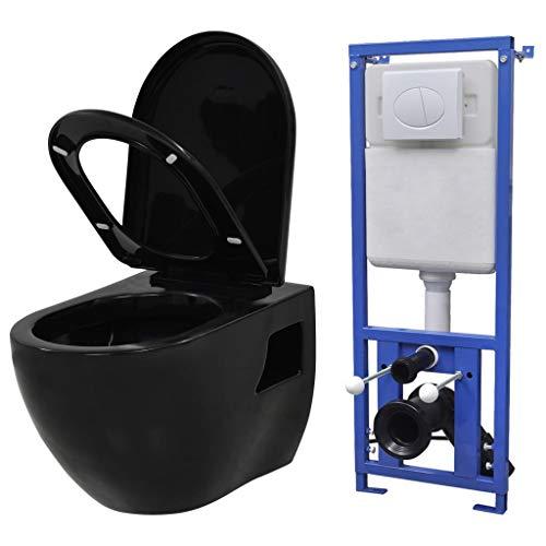 vidaXL Wand Hänge Toilette mit Einbau Spülkasten Keramik Schwarz Softclose WC