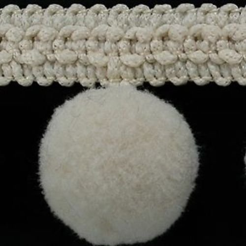 XL Pom Pom frange Garniture Bobble galon – Taille XL 2 cm (2 cm) Best Qualité. (par mètre) Ecru # C