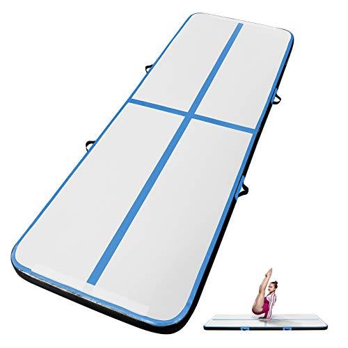 INTEY Turnmatte 3M Aufblasbar Gymnastik Tumbling Matte, Trainingsmatte mit Luftpumpe Gymnastikmatte für zuhause, Outdoor, Yoga usw