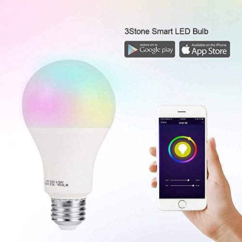 Smart LED Light Bulb, 3Stone A19 Dimmable 7W(60W Equivalent) 2.4G Wi-Fi Smart RGB Multicolor Voice Controlled Bulb, Warm White(2700K), Works with Alexa, Google Assistant&IFTTT (No Hub Required)-1 Pack