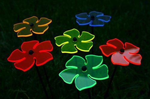 6er Set Ø8cm Leuchtblumen Nr.2 Sonnenfänger Gartenstecker