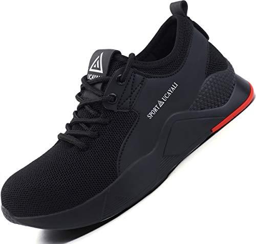 Ucayali Zapatos de Seguridad Hombre Trabajo Verano Zapatillas Trabajar Comodos Ligeros Transpirables Calzado de Seguridad Deportivo Punta de Acero(016 Negro, 44 EU)