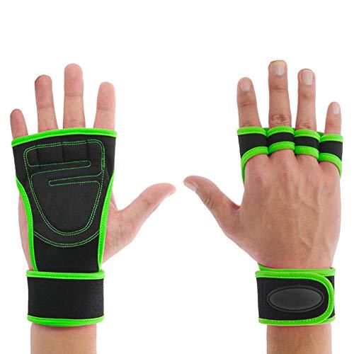 TZTED Sporthandschuhe extra leicht und atmungsaktiv für Grip Gewichtheben Training Fitness Bodybuilding Training und Outdoor Sports mit Adjustable Handgelenkstütze für Krafttraining,Grün,M