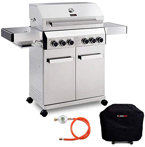CosmoGrill Barbecue 4+2 Platinum Stainless Steel Gas Grill BBQ - Silver With Cover