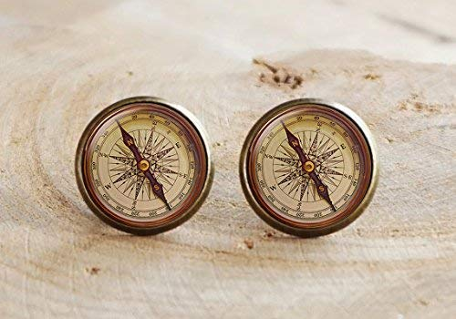 Kompass-Ohrring im Vintage-Stil, antiker Kompass, antiker nautischer Kompass, Kompass-Ohrring