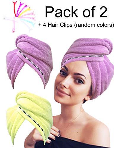 EUICAE Hair Towel Microfiber Turban Head Wrap Microfiber Towel Bath...