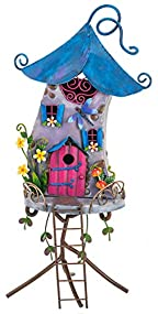 97001 Fountasia Peacock Fanned Tail Metal Indoor//Outdoor Ornament