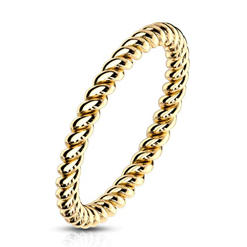 Autiga® Damen Ring Edelstahl Geflochten Herren Stapelring Bandring Gold 52 - Ø 16,51 mm