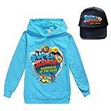 Gjhjhgeow Superzings Pullover Gorra de béisbol de sección Ligera con Capucha for niños + impresión de la Manera Sunhat cómodo niños y niñas (Color : A21, Size : Height-120cm(Tag 120))