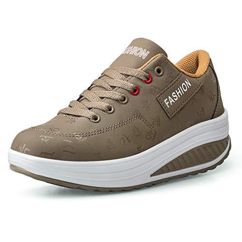 Mujer Adelgazar Zapatos Sneakers para Caminar Zapatillas Aptitud Cuña Plataforma Zapatos(36,Caqui