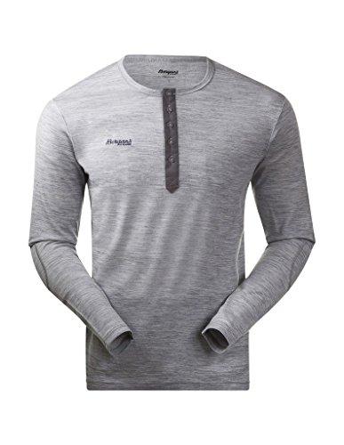 Bergans Herren Langarm Shirt Henley Wool, Grey Melange, XL