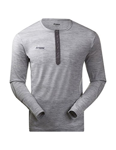 Bergans Herren Langarm Shirt Henley Wool, Grey Melange, M