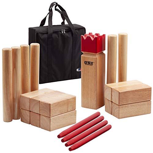 GSE Games & Sports Expert Premium Oak Hardwood Kubb/Molkky Yard Throwing Game Set. Outdoor Backyard Lawn Toss Game for Kids & Adults (Kubb Yard Game Set)