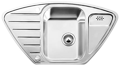 BLANCO LANTOS 9 E-IF – Eckspüle für die Küche für 90 cm Eckschränke oder 60 cm Unterschränke – Mit IF-Flachrand und Ablauffernbedienung – 516277