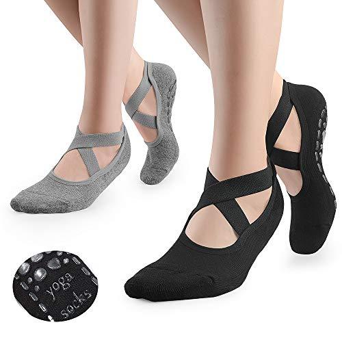 GOAMZ Calcetines de yoga antideslizantes para mujer con suela de goma transpirable, ideal para yoga, danza, pilates y fitness 35-41, Negro y gris.,