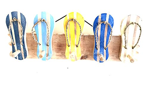 OMA Wood Carved Tropical Beach FLIP Flops Sign Towel Wall Hook Hanger Pool House Decor - Premium Quality
