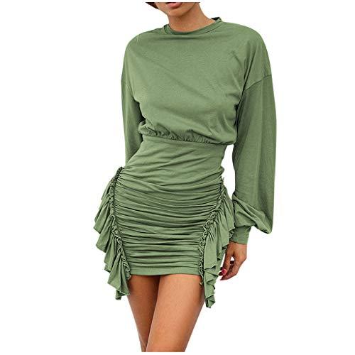 Briskorry Kleid Mode Damen V-Ausschnitt Langarm Kreuz Überlappung Saum Mini Casual Arbeitskleid Schlank Sexy Elegent Solid Color Clubwear Charming Schöne Party Kleid