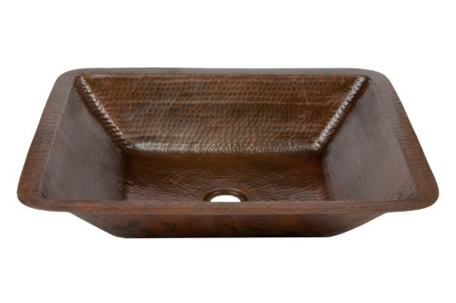 Premier Copper Products LREC19DB Hammered Copper Bathroom Sink, Oil Rubbed Bronze