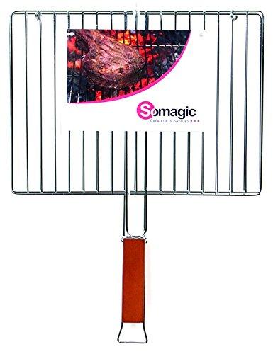 Somagic SO450212 Grille Double Rectangulaire 40 x 29 cm Acier Chrome