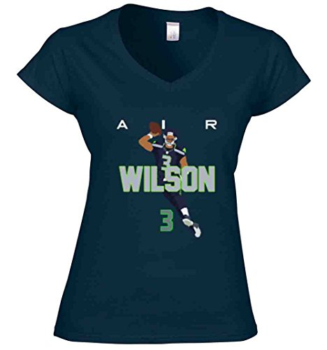 The Silo Navy Seattle Wilson AIR PIC Ladies V-Neck Adult